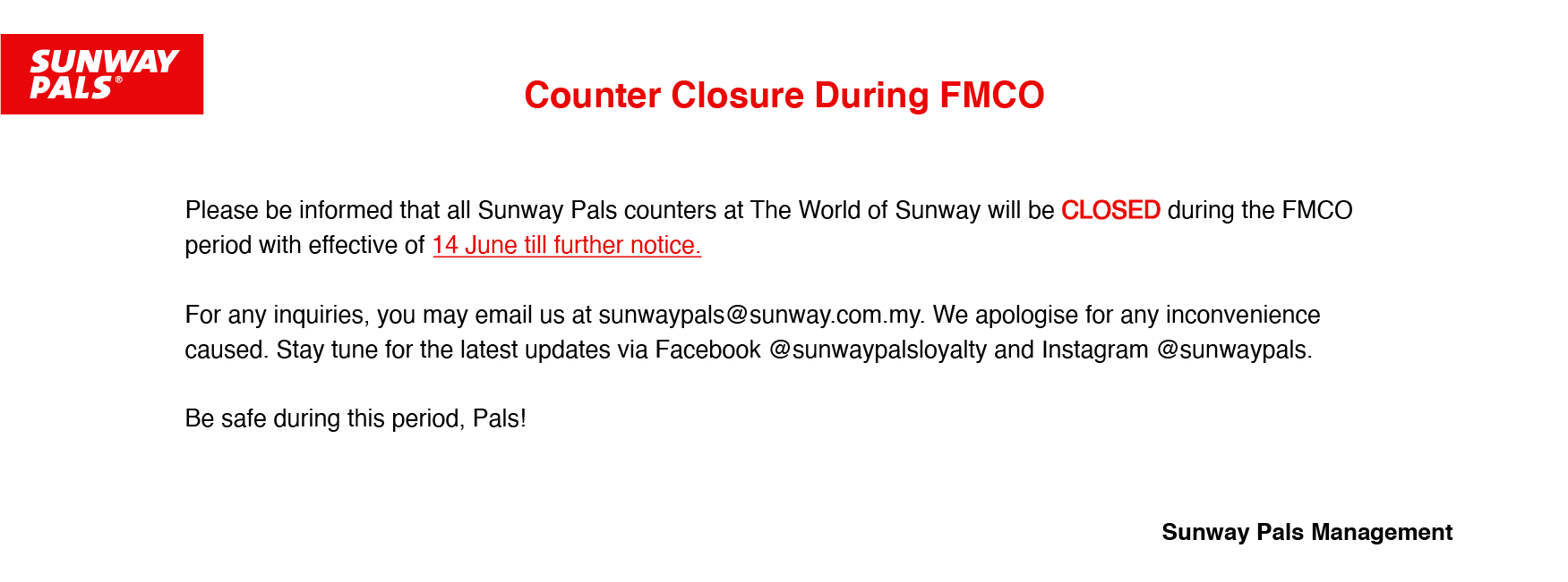 TWOS Closure due to FMCO - As At 15/06/21