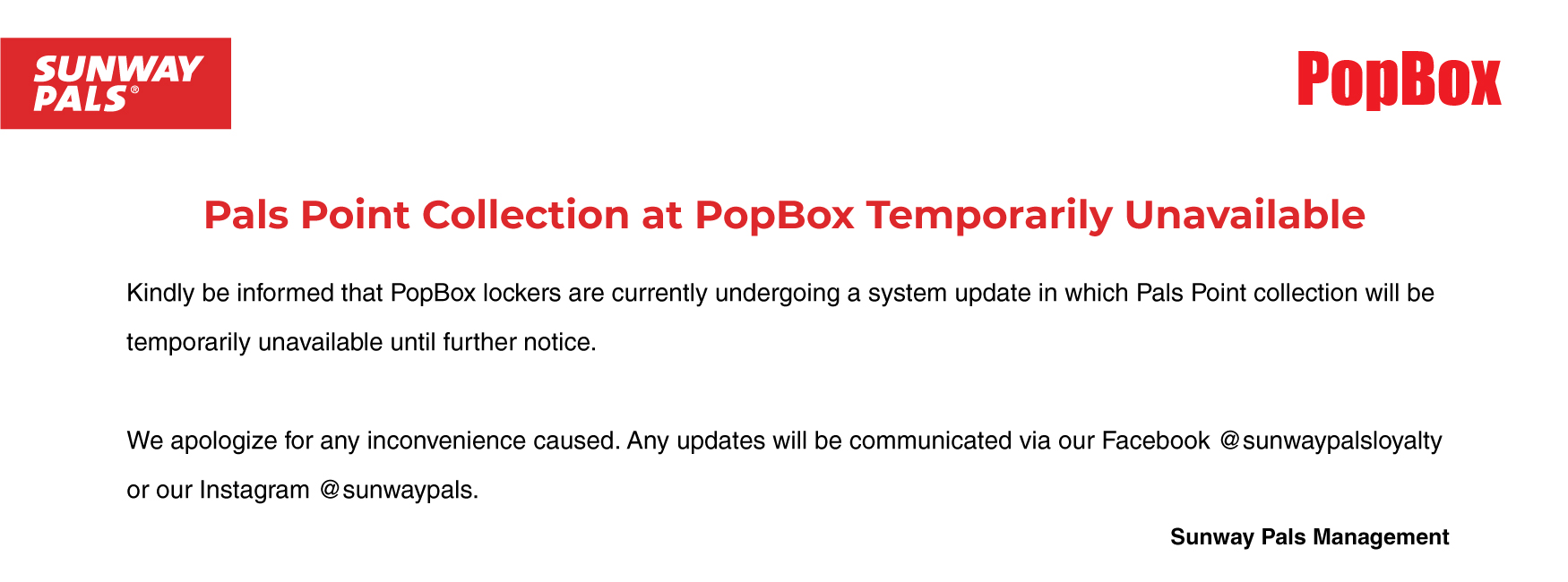 Popbox notice