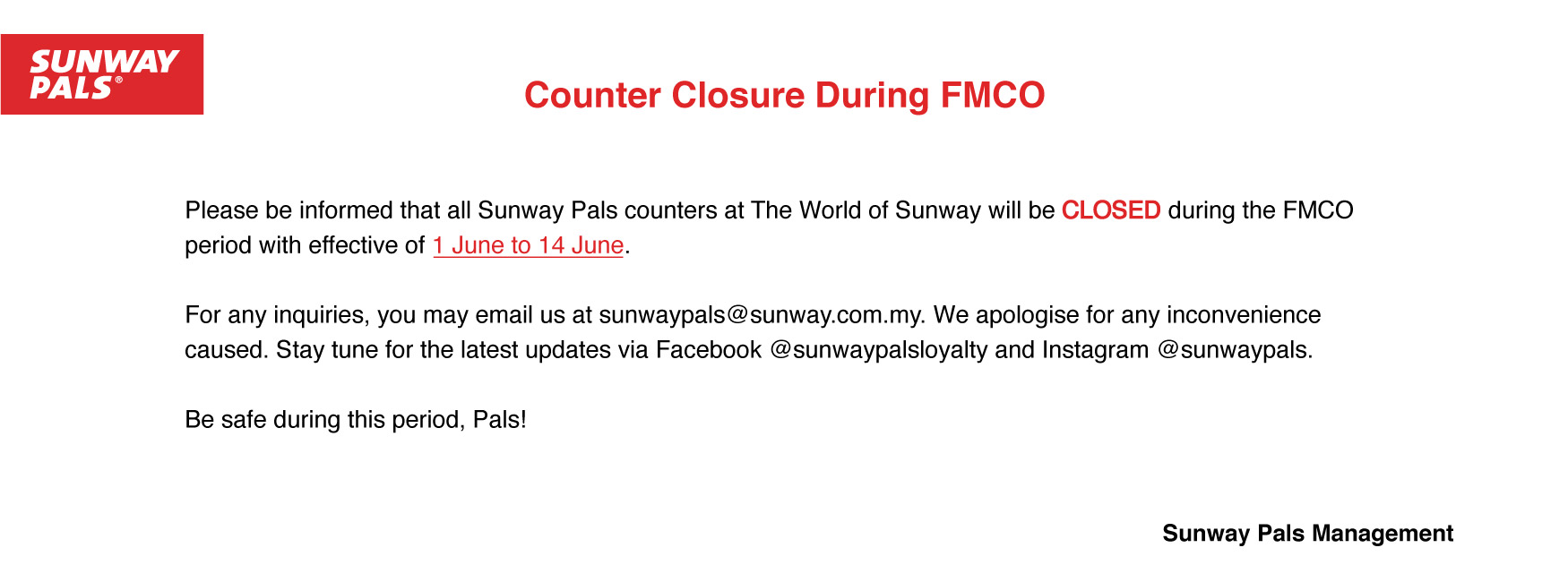 TWOS Closure due to FMCO - As At 31/05/21