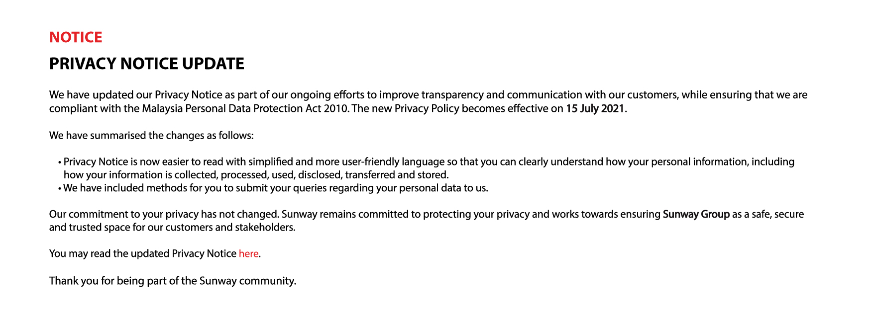 Privacy Notice (Updated 15 July 2021)
