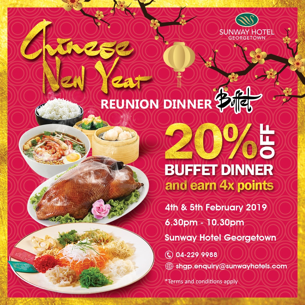 4x Pals Points + 20% off on the Chinese New Year Reunion Buffet/Set Dinner