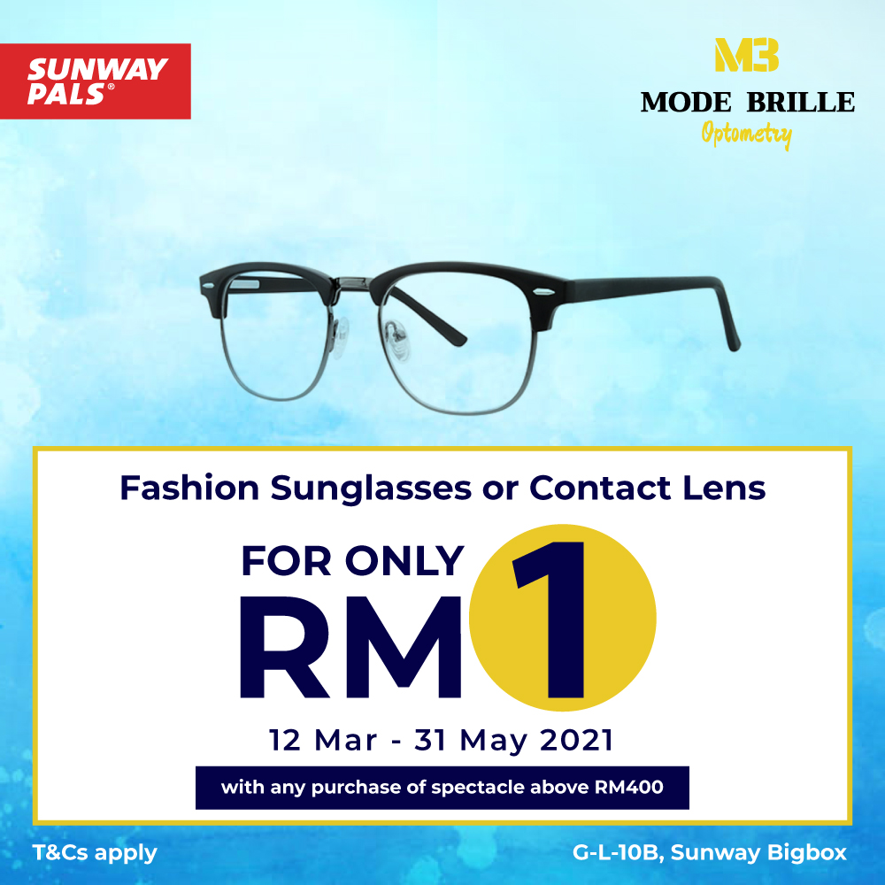 Enjoy Fashion Glasses & Contact Lenses at RM 1 ONLY