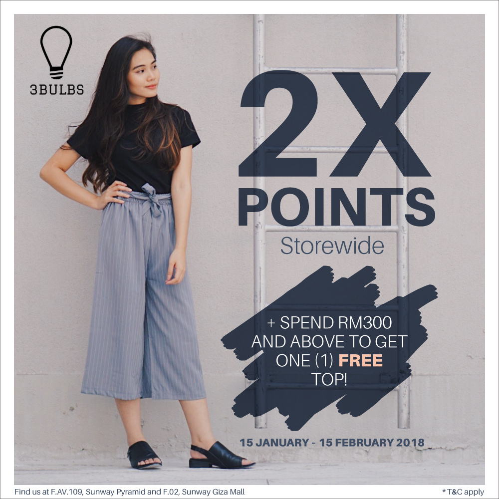 2x Points Storewide + Free Top with Minimum Spend