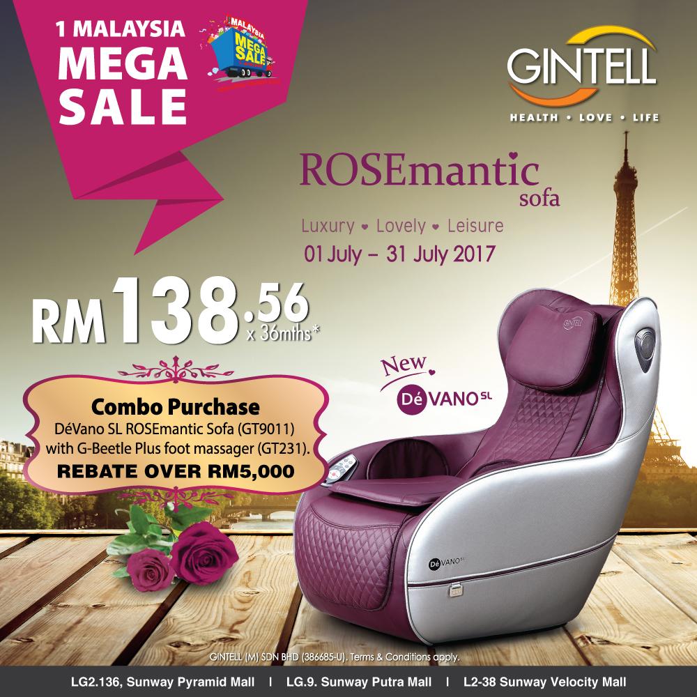 Dé Vano SL ROSEmantic Sofa and G-Beetle Plus Foot Massager combo