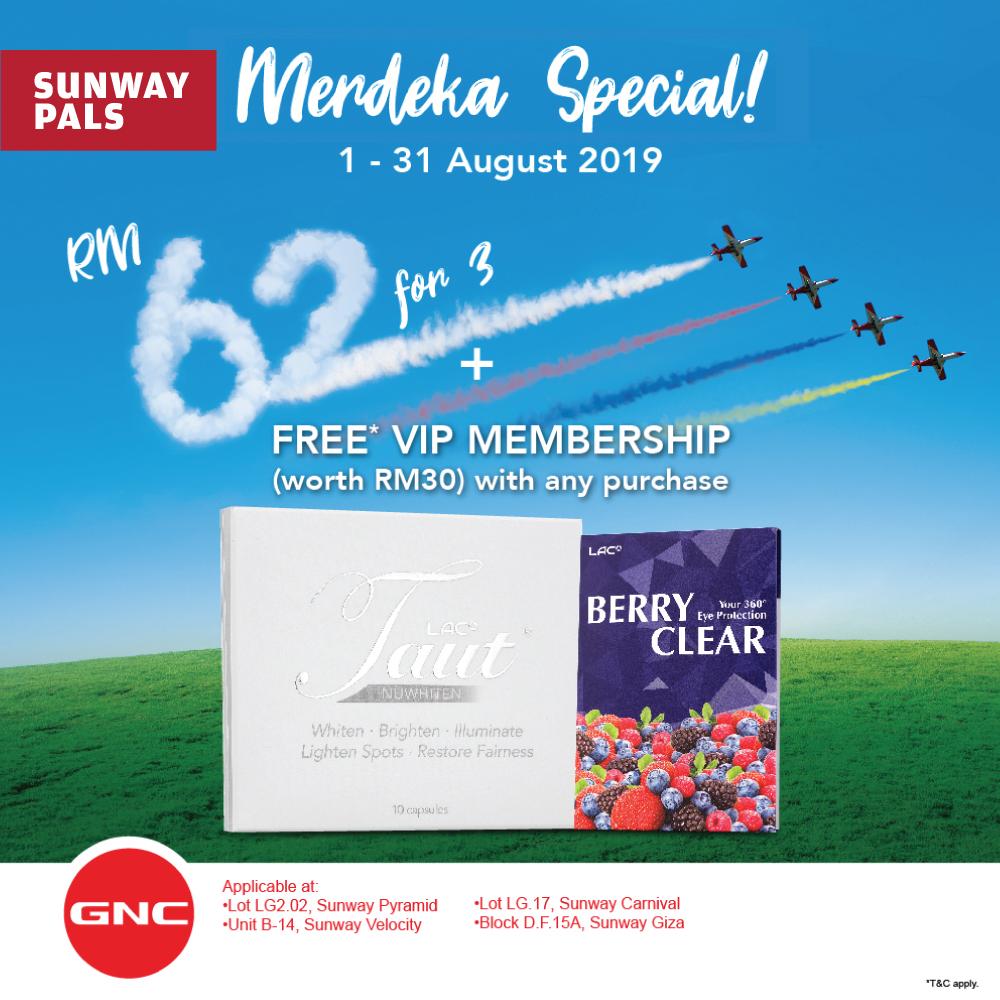 Buy 3 @ RM62 + FREE GNC VIP Membership