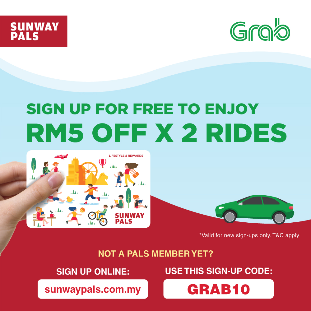 Sign up & get RM5 off x 2 Grab rides