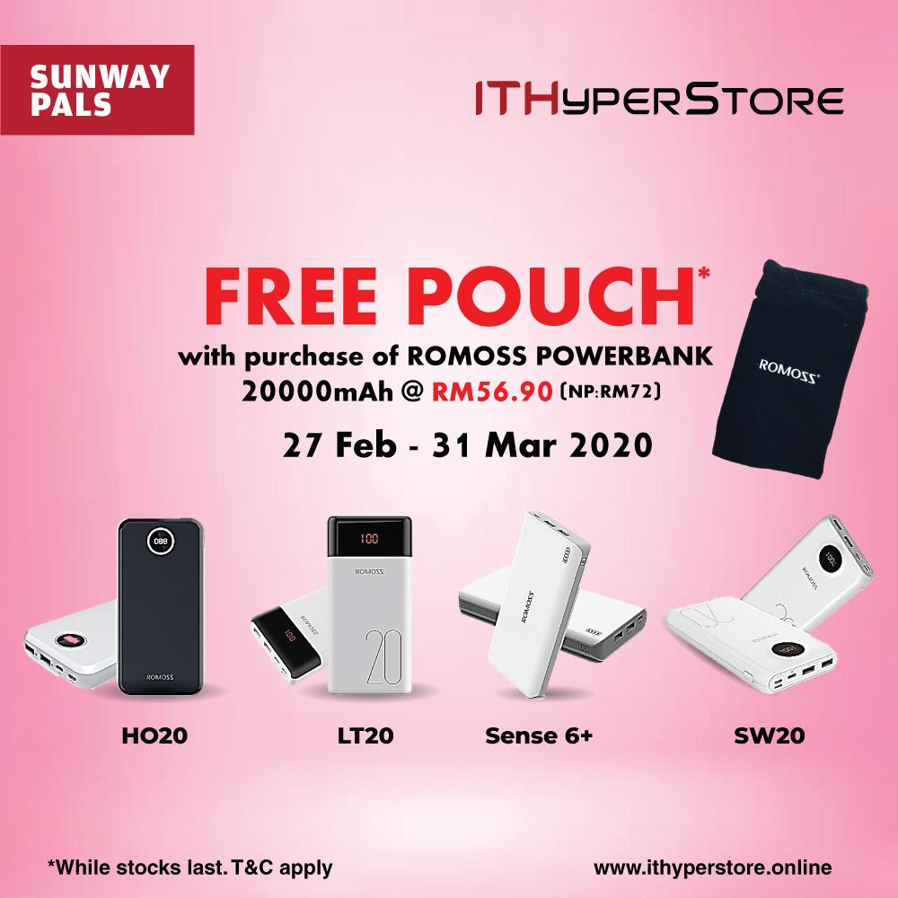 ROMOSS Powerbank Worth RM72 + Free Pouch