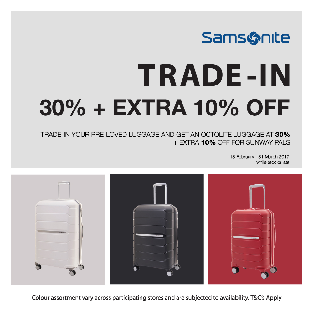 Luggage trade-in at 30% + extra 10% off