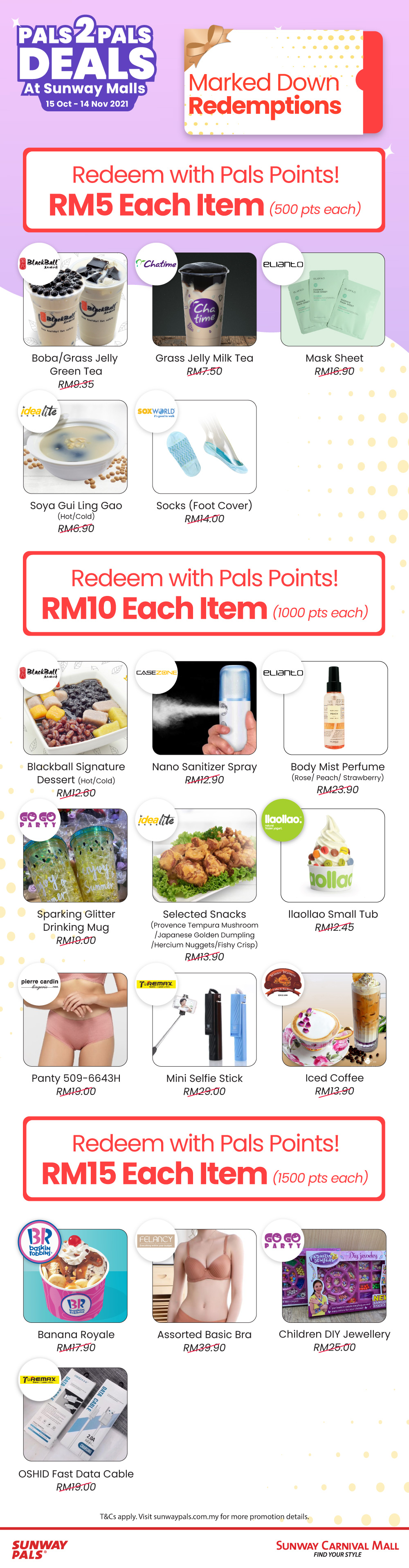 P2PD - Sunway Carinval Mall Marked Down Redemptions From RM5
