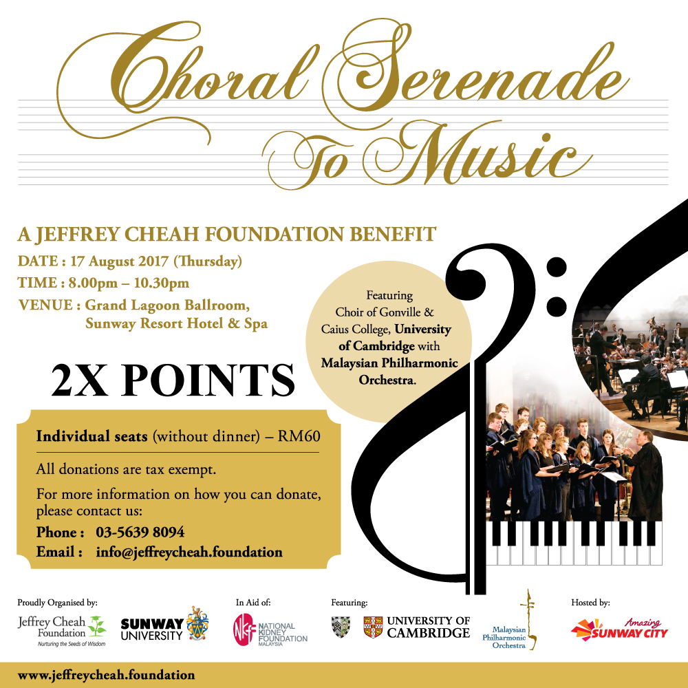 A Jeffrey Cheah Foundation Benefit: Choral Serenade to Music