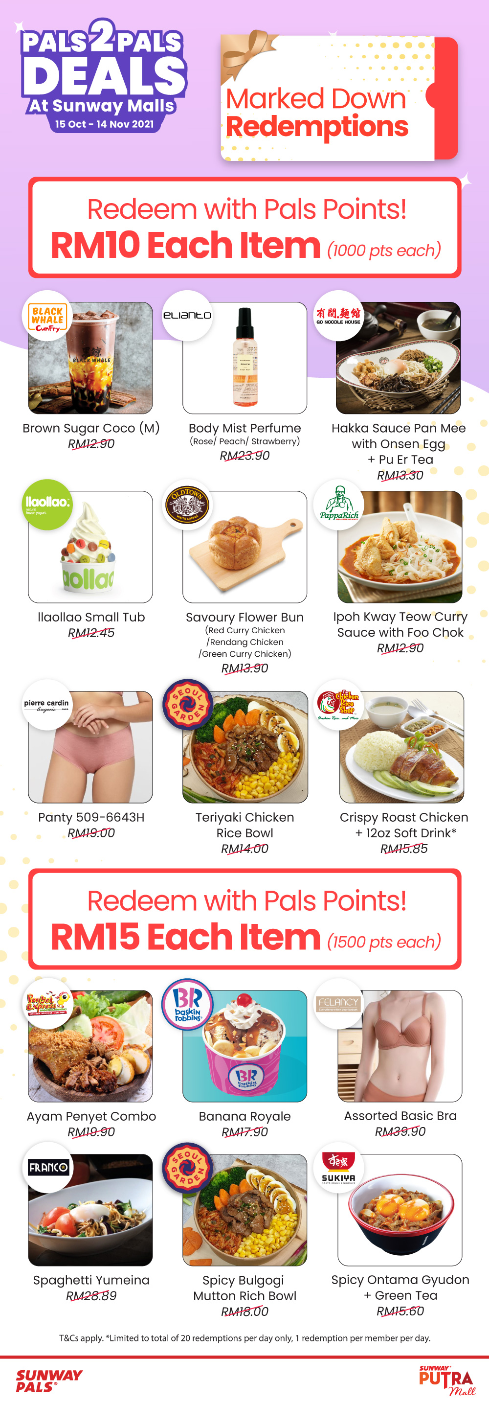 P2PD - Sunway Putra Mall RM10 & RM15 Marked Down Redemptions