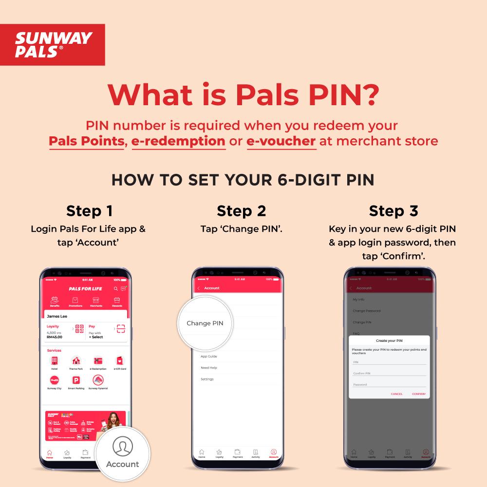 Sunway Pals PIN guide