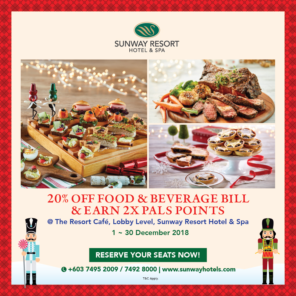 20% off + 2x Pals Points on total food and beverage bill