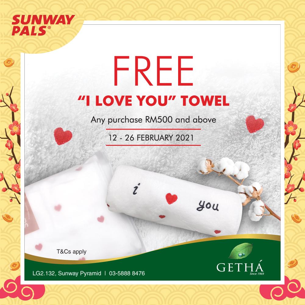 FREE 'I Love You' Towel