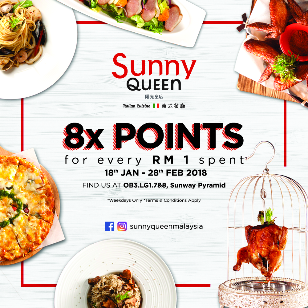 Get 8X Sunway Pals Points on Weekdays at Sunny QuEEn