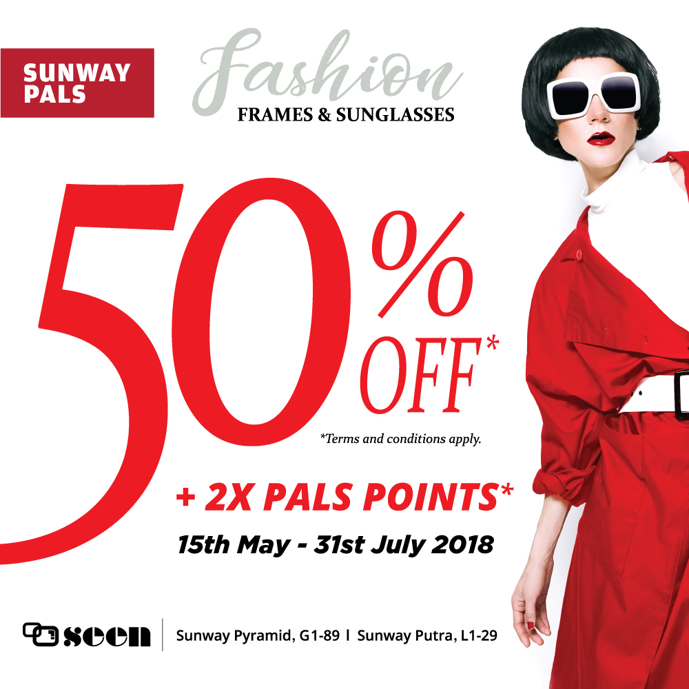 2x Pals Points + 50% off on fashion frames and sunglasses